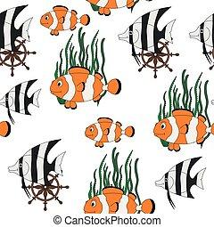 tropicale, modello, pesci, seamless