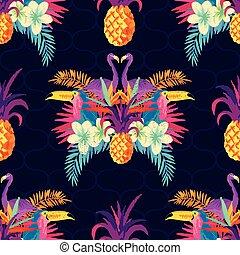 tropicale, modello, vivido, seamless
