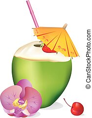tropicale, noce di cocco, bevanda, .eps