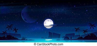 tropicale, notte, mare, paesaggio, baia