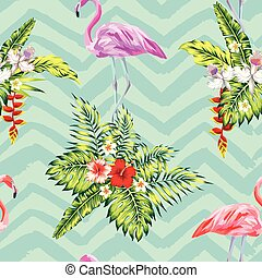 tropicale, piante, fiori, fenicottero