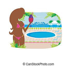 tropicale, ragazza, bevanda, stagno