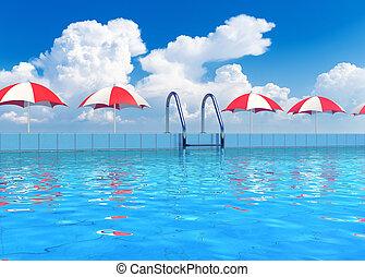 tropicale, ricorso, stagno, nuoto