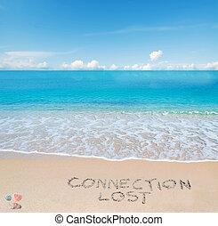 tropicale, scritto, spiaggia, collegamento, perso