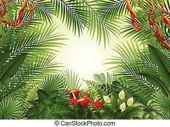tropicale, seamless, fondo, foresta