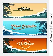 tropicale, set, bandiera, fondo