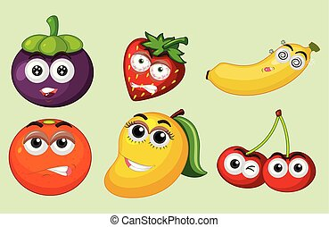 tropicale, set, frutta