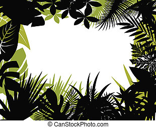 tropicale, silhouette, foresta