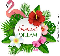 tropicale, sogno, vettore, carta, taglio, illustrazione