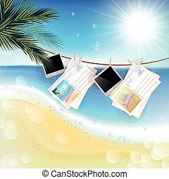 tropicale, soleggiato, giorno estate, con, appendere, foto, e, lettere
