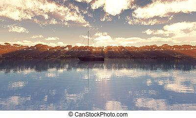 tropicale, sopra, bello, tramonto, laguna