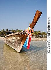 tropicale, tradizionale, tailandese, spiaggia, barca