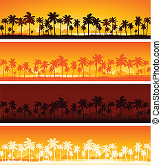 tropicale, tramonto, fondo