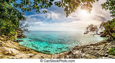 tropicale, tramonto, laguna