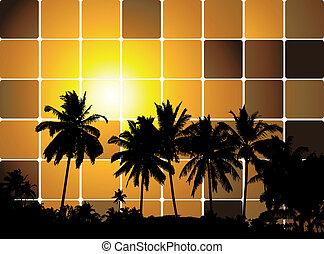 tropicale, tramonto, mosaico, fondo, per, tuo, disegno