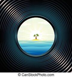 tropicale, vetro spia, isola lunga
