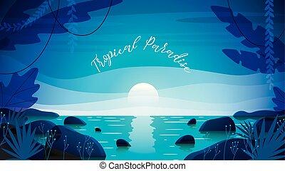 tropicale, vettore, fondo, illustrazione, paradiso