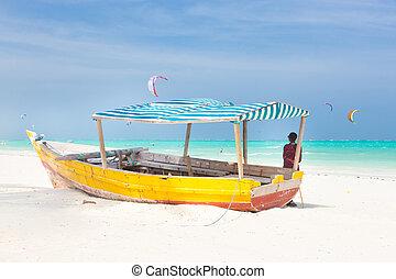 tropicale, zanzibar., spiaggia, bianco, sabbioso