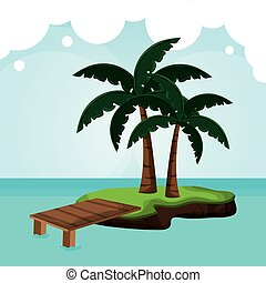 tropicalisland, muelle, palmera