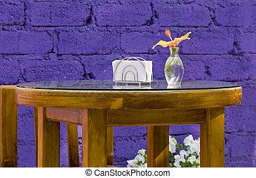 tropici, esterno, tavola mette