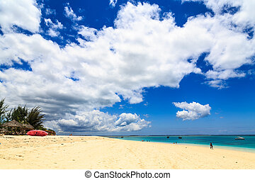 Tropicl beach with clouds