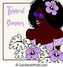 tropikalna kobieta, ciemny-obielany, ilustracja