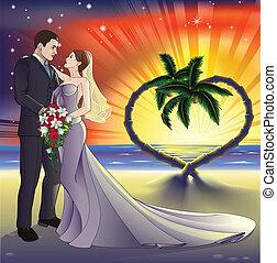 tropikalna plaża, ilustracja, ślub
