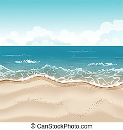 tropikalna plaża, ilustracja, tło