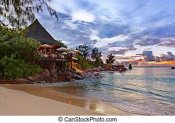 tropikalna plaża, kawiarnia, seychelles, zachód słońca