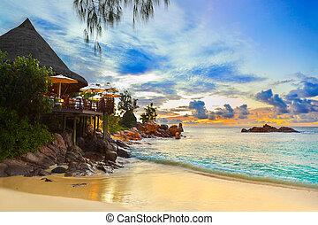 tropikalna plaża, kawiarnia, zachód słońca