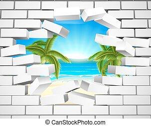 tropikalna plaża, przez, ściana