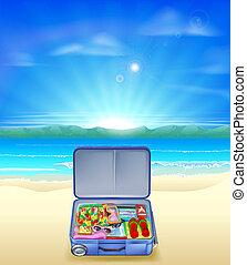 tropikalna plaża, walizka