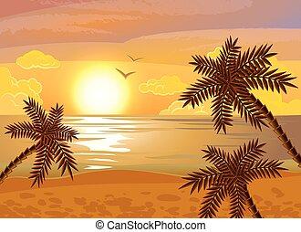 tropikalna plaża, zachód słońca, afisz