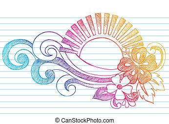 tropikalna plaża, zachód słońca, hawaje, doodle