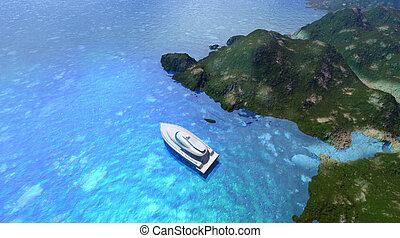 tropikalna woda, łódka