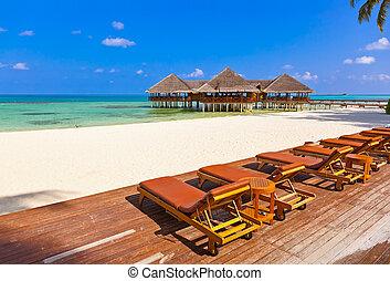 tropikalna wyspa, kawiarnia, malediwy