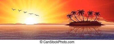 tropikalna wyspa, na, zachód słońca