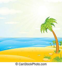 tropikalna wyspa, plaża., wektor, ilustracja