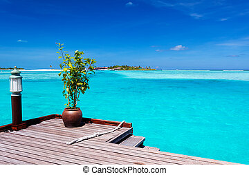 tropikalna wyspa, prospekt, molo, ocean