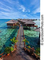 tropikalna wyspa, robiony, człowiek, uciekanie się