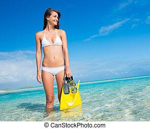 tropikalna wyspa, snorkel, kobieta, przybory
