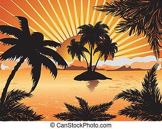 tropikalna wyspa, zachód słońca