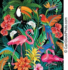 tropikalne kwiecie, ptaszki, skład