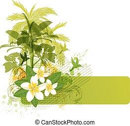 tropikalne kwiecie, zielony, dłonie