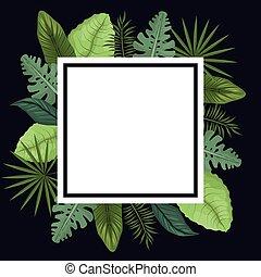 tropikalny, afisz, liście, dłoń, ozdoba