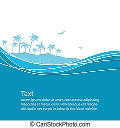 tropikalny, błękitne tło, morze, fale, island., wektor