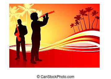 tropikalny, banda, żywa muzyka, tło, czerwony