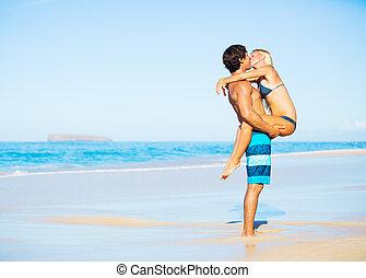tropikalny, całowanie, para, plaża