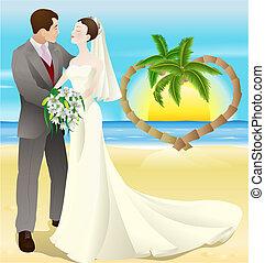 tropikalny cel, plażowy ślub