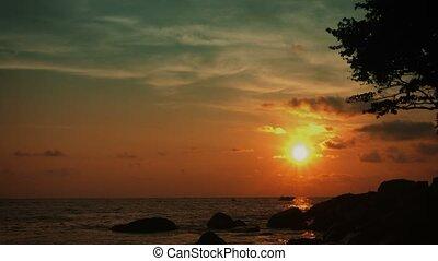 tropikalny, cichy, coast., krajobraz, ocean